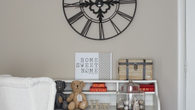 Elegant Neutral Home Office with Metal Clock