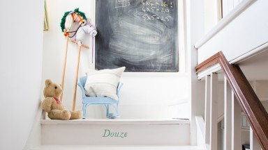 French numbered stairs and chalkboard