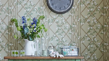 Country hallway with trellis patterned wallpaper