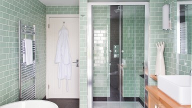 Green Tiled Bathroom with Shower