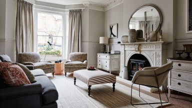 Neutral Living Room with Paisley Armchairs