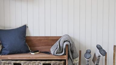 Panelled Hallway with Pegged Picture Rail and Country-style Bench