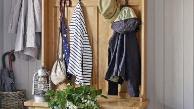 Country Hallway with Large Wooden Storage Unit