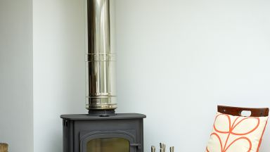 Living Space with Slimline Woodburner and Statement Chair