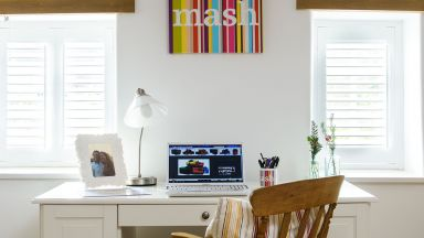 White Country Home Office with Painted Desk and Wooden Chair