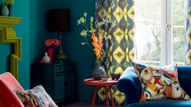 Deep Teal Living Room with Mid-century Style Furnishings
