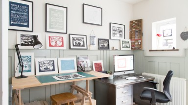 Neutral Home Office and Art Studio