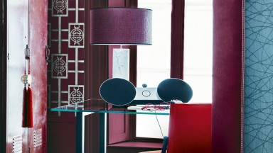 Red Oriental-inspired Home Office with Trellis Wallpaper