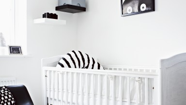 Monochrome nursery with striped accents