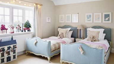Children's Country Bedroom with Twin Blue Beds