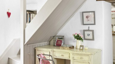 Under-stair Country Home Office with Steel Chair