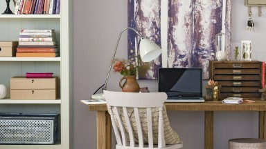 Pale Purple Home Office with Green Shelving Unit