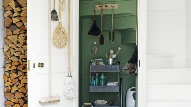 Country Hallway with Green Under-stairs Storage