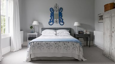 Grey Classic Bedroom with Quirky Mirror