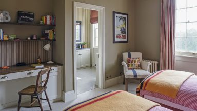 Neutral Children's Room with Desk Area and Twin Beds