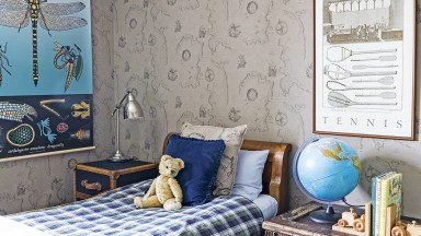 Children's Room with Galleon Ship Wallpaper