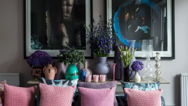 Eclectic living room with pastel florals and geometrics