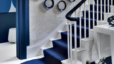 Modern Blue and White Hallway with Stream-style Stair Runner