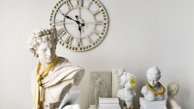 White Modern Home Office with Resin Bust and Clock
