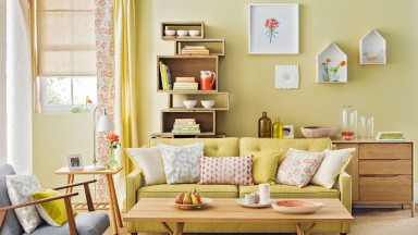 Lemongrass Yellow Living Room with Bookcase