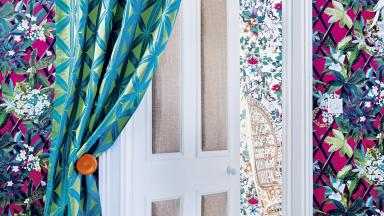 Jungle-print Hallway with Colourful Door Curtain