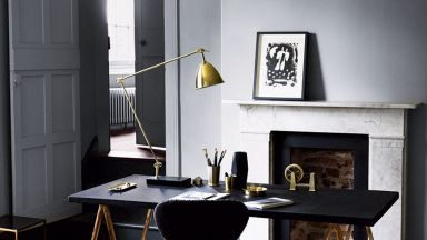 Grey Modern Home Office with Trestle Desk and Brass Lamp
