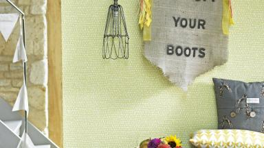 Country Hallway with Fresh Green Wallpaper and Linen Bunting