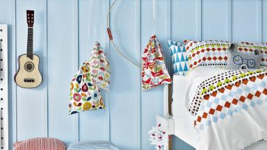 Child's Modern Bright Bedroom with Scandi Pattern