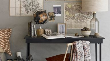 Grey Country Home Office with Decorative Map Wall Art