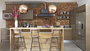 Industrial-style Kitchen With Rustic Breakfast Bar
