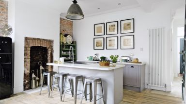 Modern Rustic Kitchen with Exposed Brickwork and Whitewashed Floorboards
