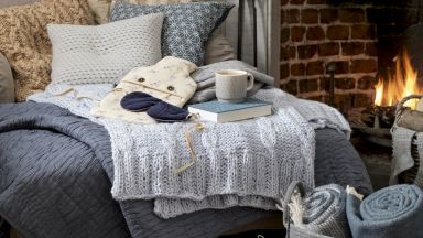 Cosy Country Living Room With Warming Wool Throws and Cushions
