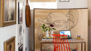 Neutral Modern Home Office with Japanese Screen and Red Chair