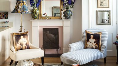 Beautiful Living Room with Fireplace Centrepiece and Mismatching Chairs