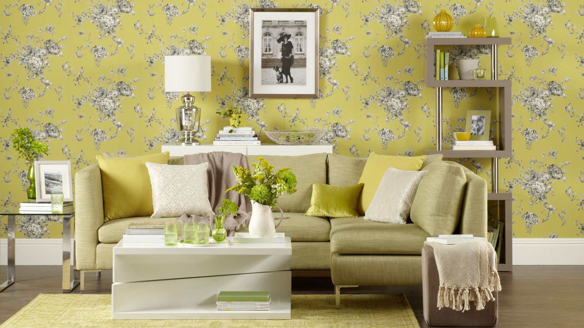 Chartreuse Living Room With Floral Wallpaper The Room Edit