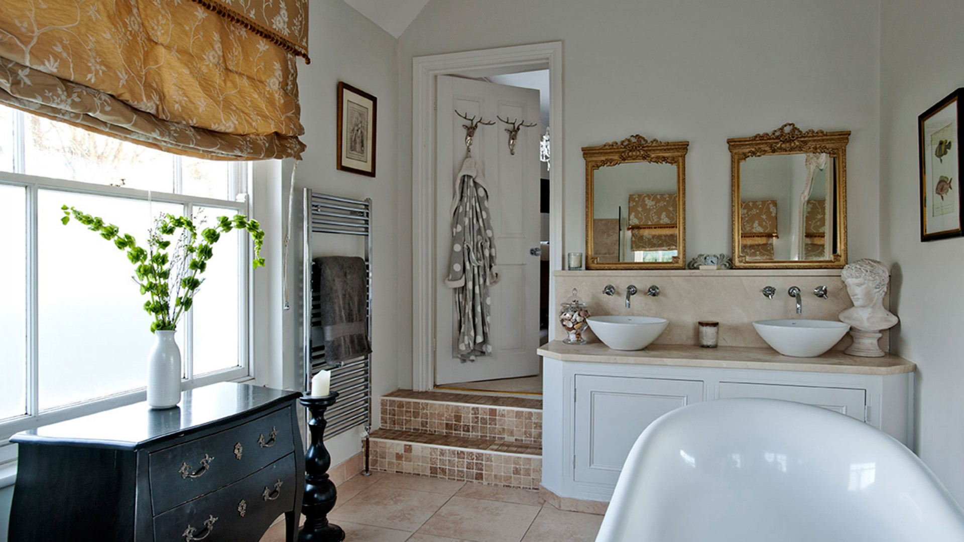 Black And White Traditional Bathroom With Twin Basins And Gilt Mirrors