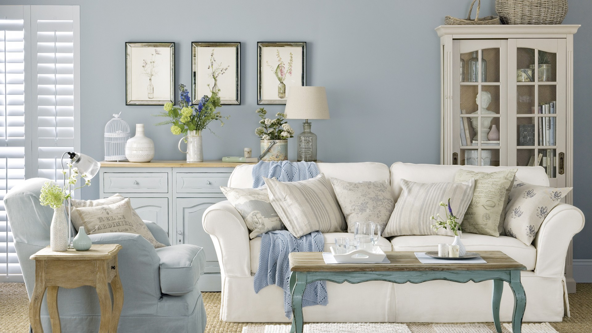 Pale Blue Country Boutique Living Room - The Room Edit