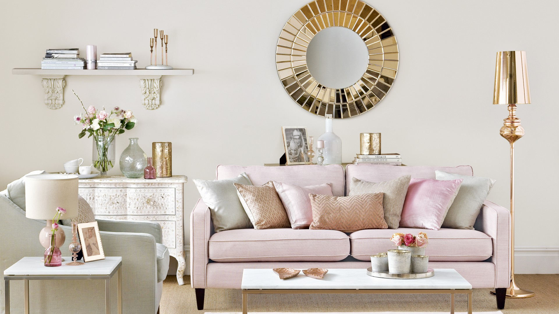 Neutral living room with rose gold and pink accents the for Living room ideas rose gold