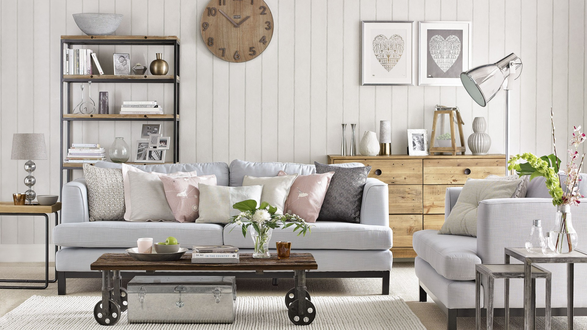 Soft Neutral Living Room With Reclaimed Wood Furniture The Room Edit