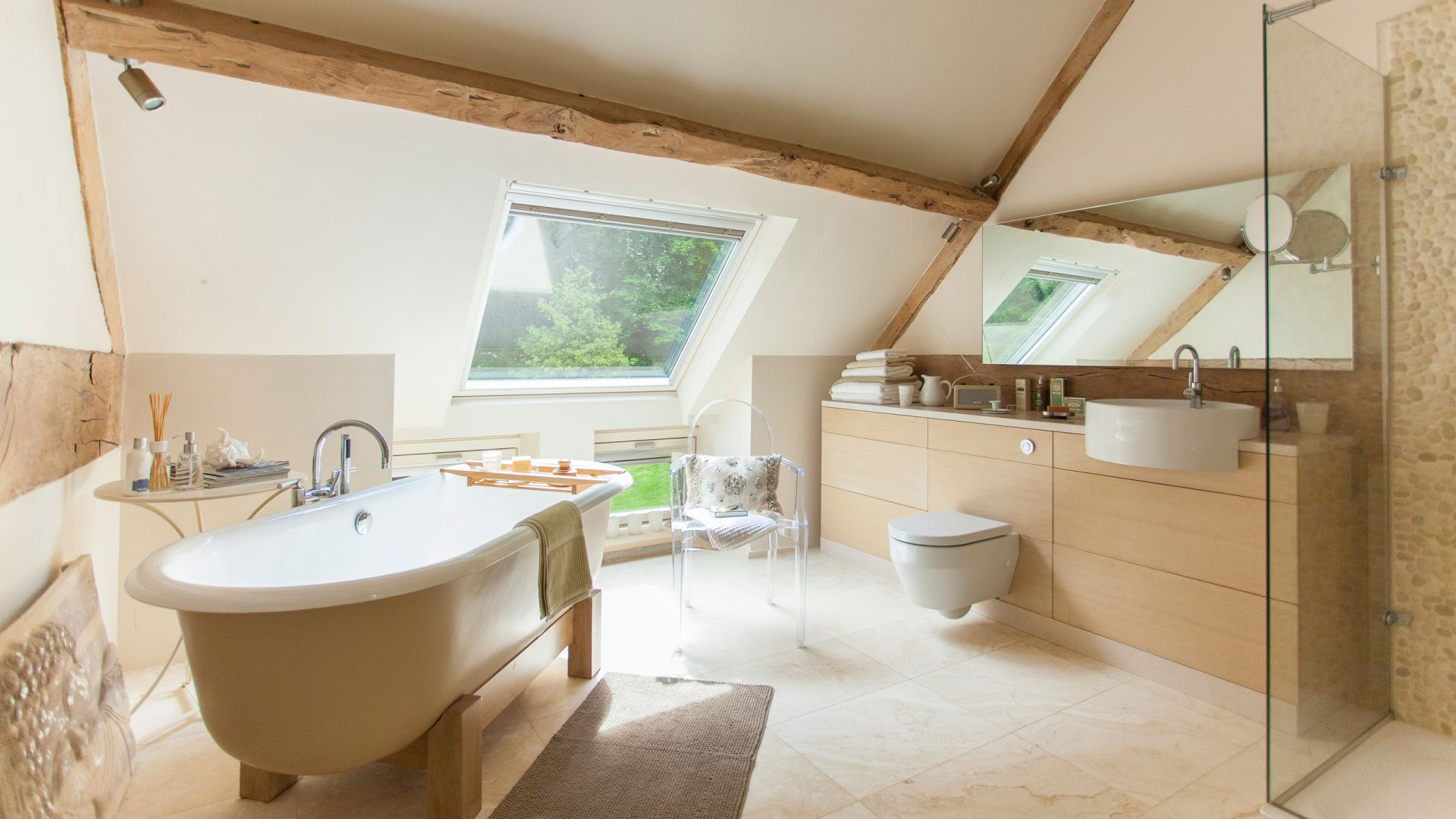 Barn-conversion Bathroom in Pretty Sand Tones