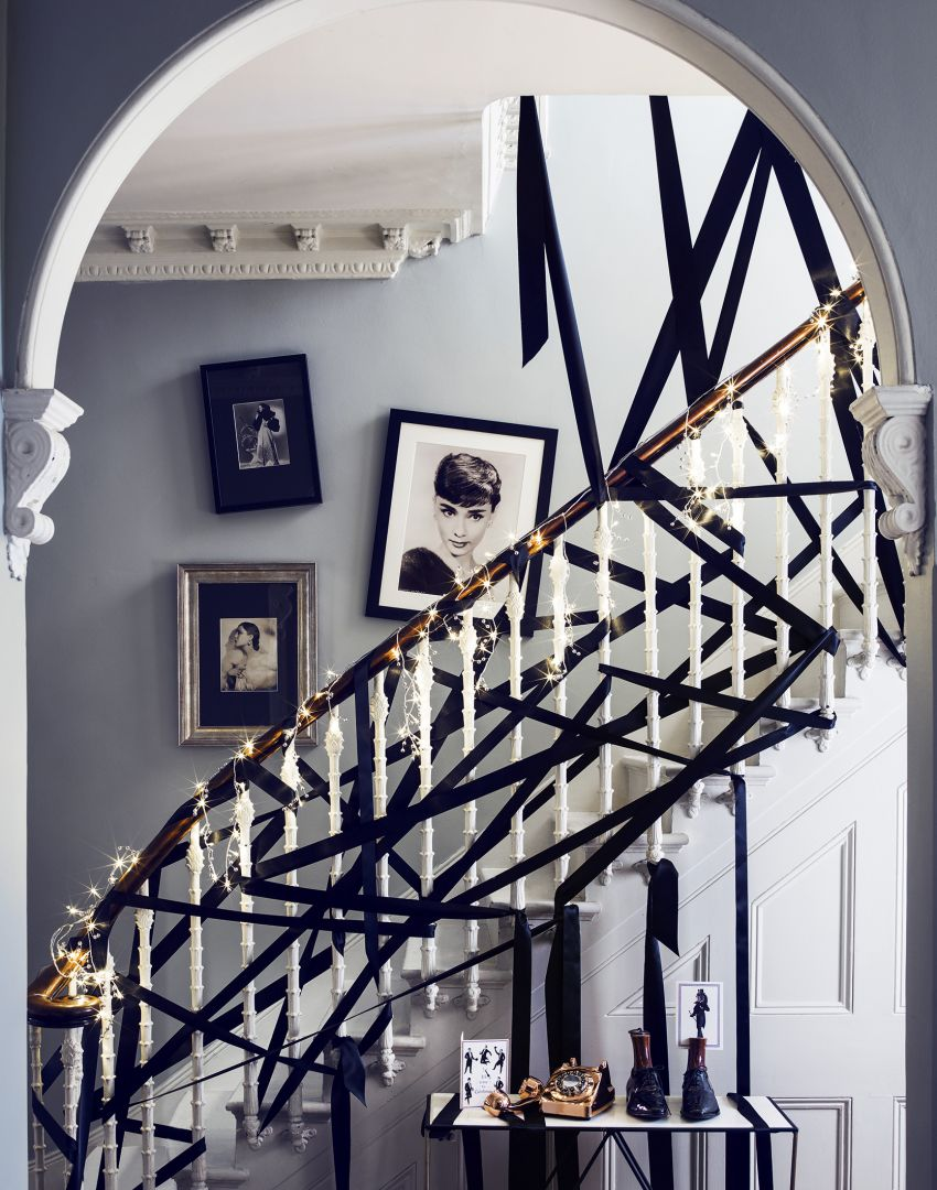 Period Hallway Staircase with Black Ribbon Garland