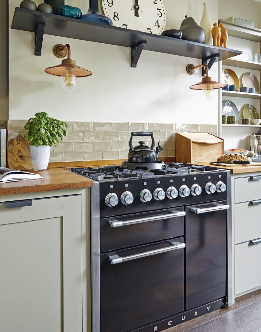 Modern Country Kitchen with Black Range Cooker and Open Shelf