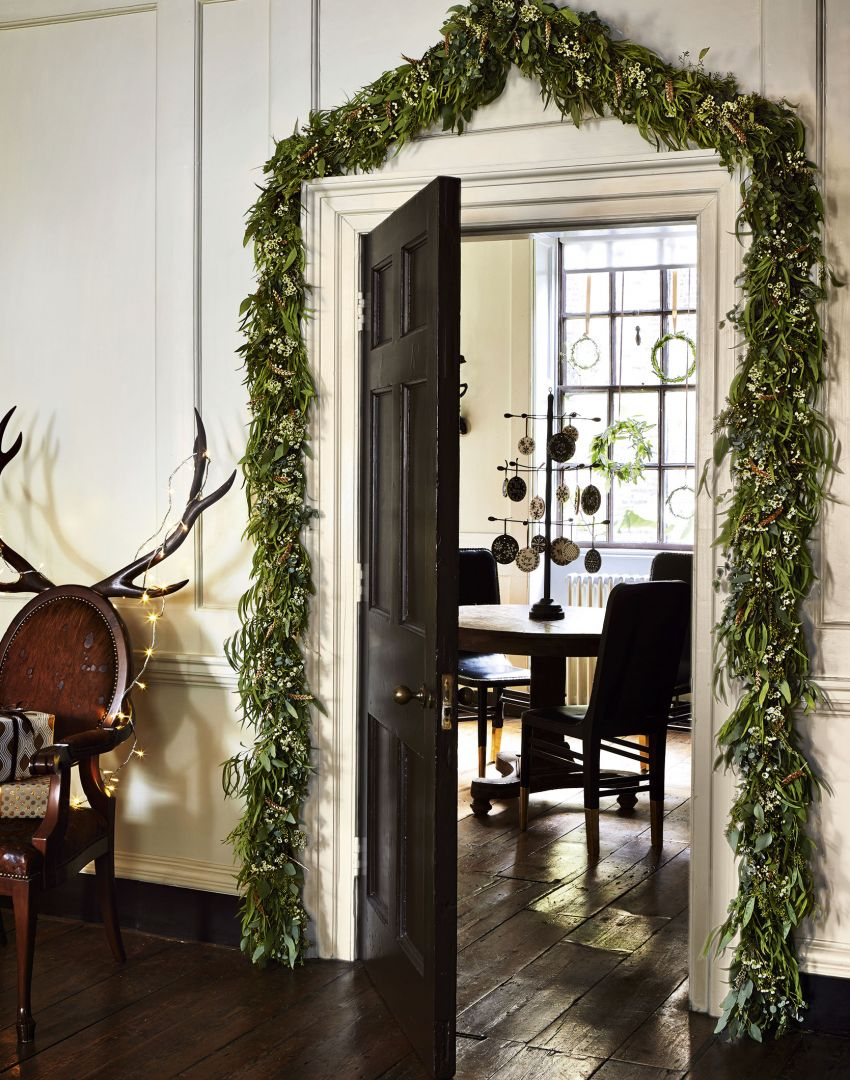 Traditional Panelled Hallway with Festive Door Garland