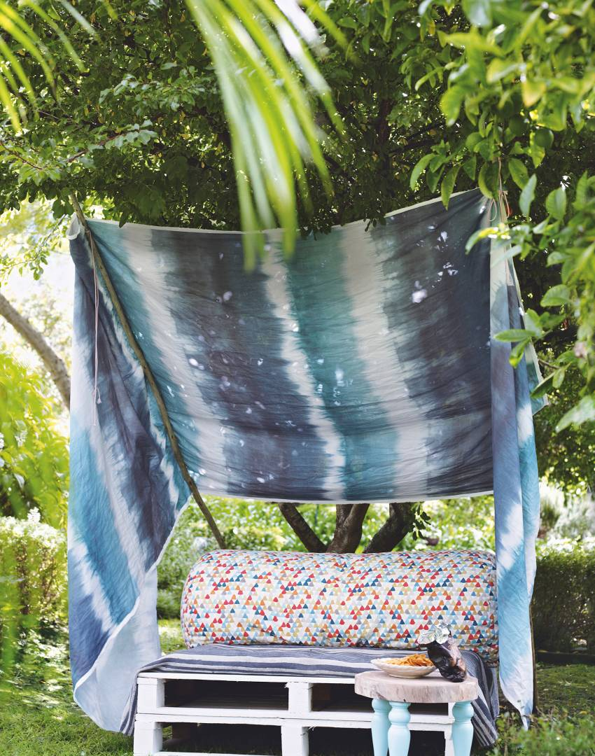 Homemade Lounger with Blue Tie-dye Canopy