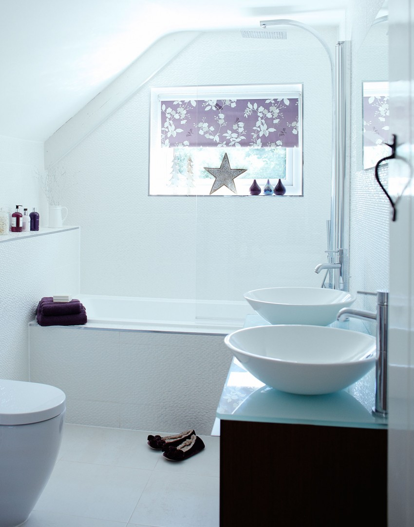 White Modern Bathroom with Purple Accents and Twin Basins