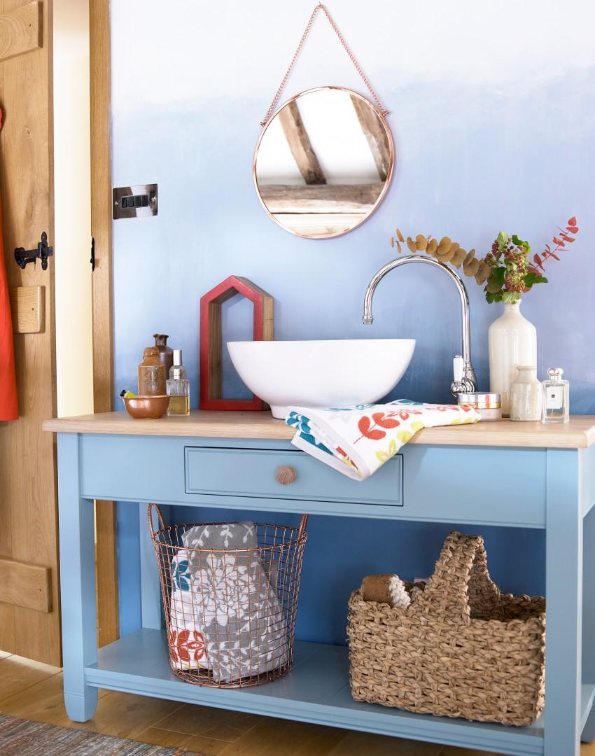 Country Bathroom with Blue Painted Washstand