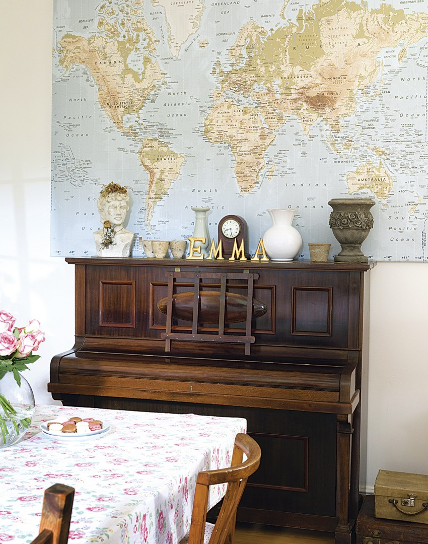 Country dining room with giant world mapWork Those Walls for a Dining Room of Distinction   The Room Edit. Piano Dining Room Table. Home Design Ideas
