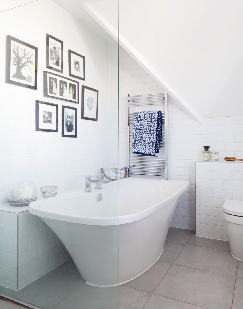 Modern White Bathroom with Curvy Freestanding Bath