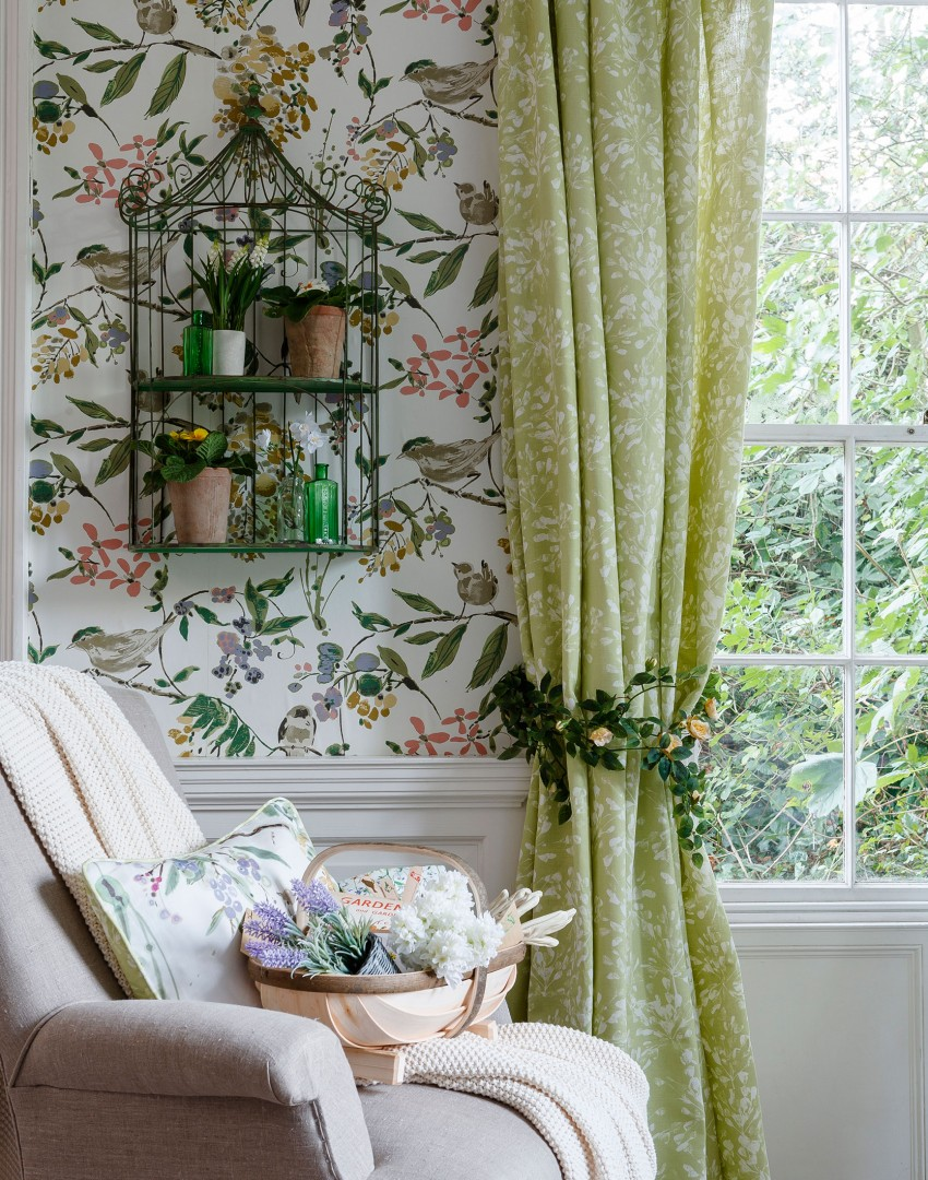 Country Living Room with Green Floral Wallpaper
