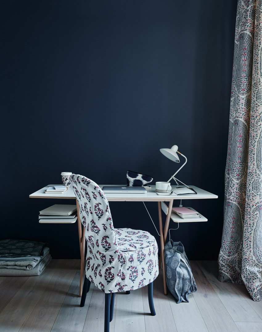 Modern Home Office with Paisley Seat Cover